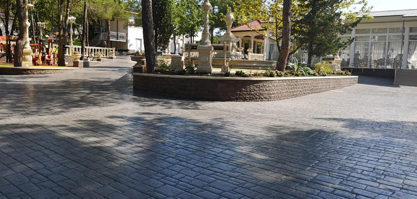 Печатный бетон на большой площади